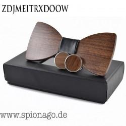 Holzfliege Herren mit Manschettenknöpfe - Hochzeit Holz Fliege Manschettenknöpfe Set Herren Anzug Krawatte