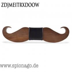 Schnurrbart Holzfliege Herren - Hochzeit Holz Fliege Anzug Krawatte Bart