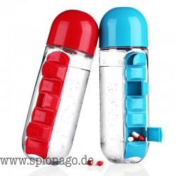 Wasserflasche mit Pillendose Tägliche Organizer Trinkflaschen 600ml Sport Pillen