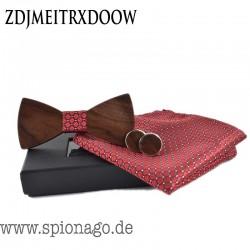 Holzfliege mit Einstecktuch + Manschettenknöpfe Hochzeit Holz Fliege Anzug Krawatte Bart Krawatte Hemden Holzbinder