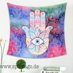 Wandteppich Allsehendes Auge Hand Fatima Hamsa Buddhistische Hand Indisches Mandala Wandbehänge Kunst Teppiche