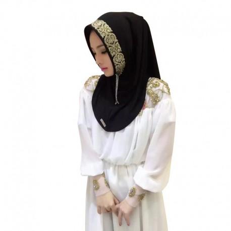 Hijab mit goldener Stickerei Islamischer Schal Islam Muslim Burka Pflicht Chadar Tchadar