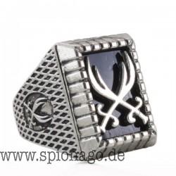 Männer Ring mit Schwert Antiker Silberüberzug Muslim Zulfiqar Schwert von Imam Ali Ring für Islam Mode rechteckig