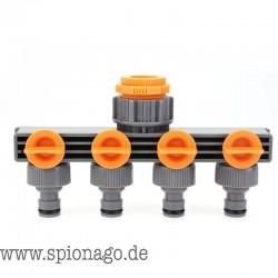 Wasserverteiler-Anschluss 4-Wege Ventil Wasser Verteilungs-Kontroller Garten Schlauchleitung Splitter Gartenbewässerung Adapter