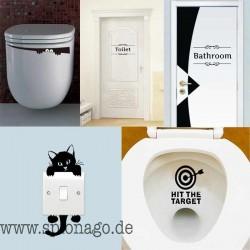WC Aufkleber Badezimmer Wand Aufkleber Türdekoration Lichtschalter Wandtattoo für Toilettentür Aufkleber Für Shop Büro Cafe Klo