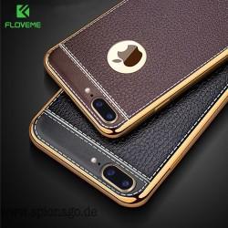 Gold beschichtete Leder Smartphone Hülle Case für iPhone 6, 6S, 7, 8 und X/ 10